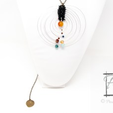 Solar System necklace with warped time clock