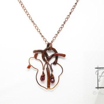 Bleeding Heart anatomical heart necklace