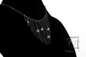 Cassiopeia constellation necklace in gunmetal with asfour crystal and crackle glass.