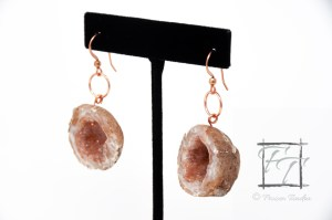 Geode earrings in copper
