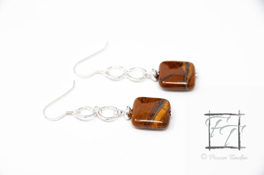 Tiger iron earrings in silver