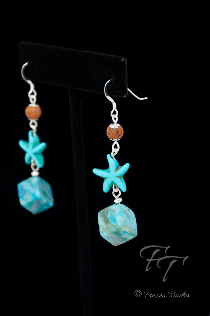 California Sand crazy lace agate sea star earrings