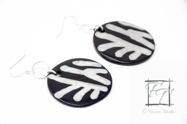 painted zebra bone earrings in sterling silver