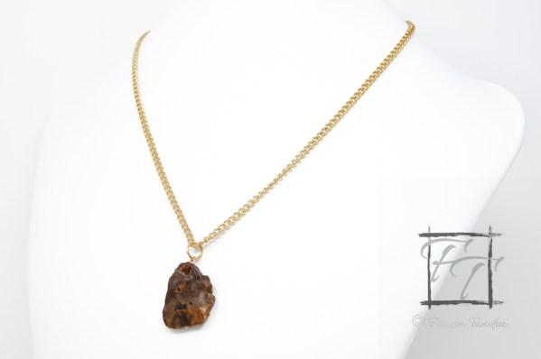Gold petrified wood pendant necklace