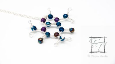 Blue and purple caffeine molecule necklace with Czech druk glass and crackle glass