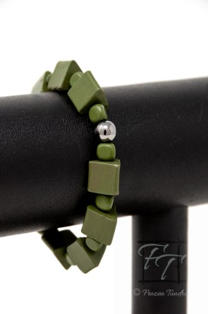 DMZ stretch bracelet with natural forest green serpentine