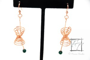 copper wire lightcone and worldline earrings with malachite