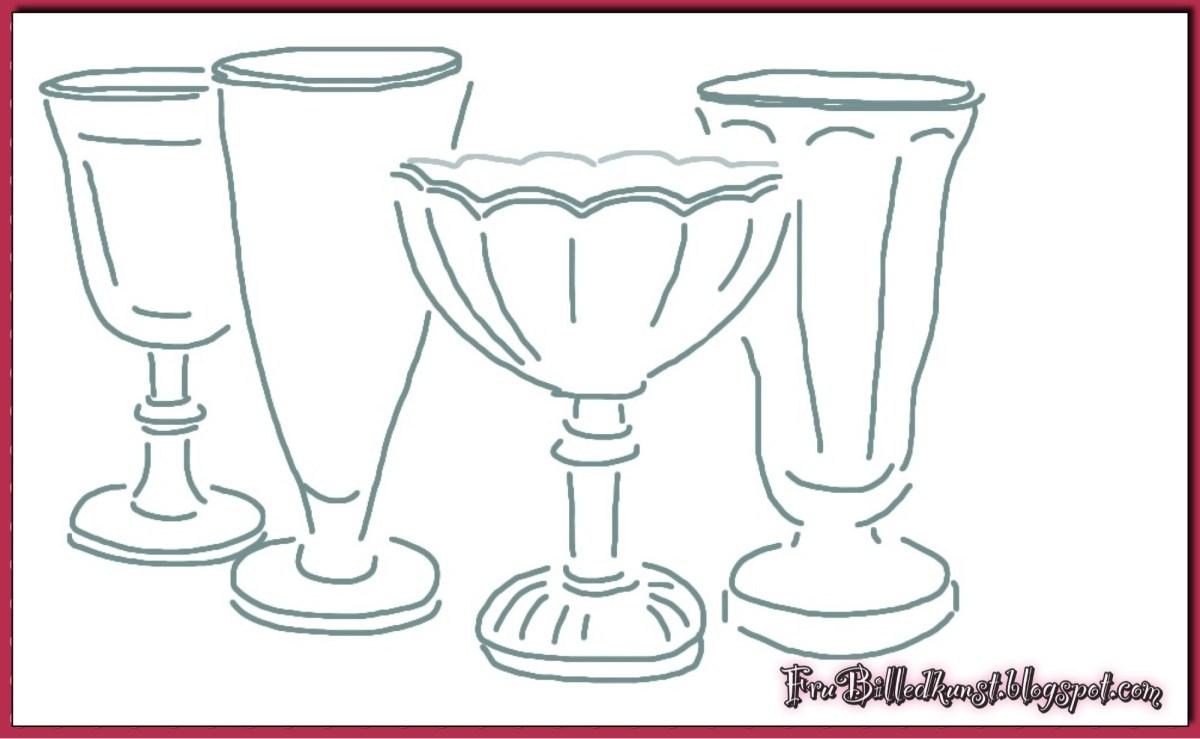 FruBilledkunst - forskellige dessertglas