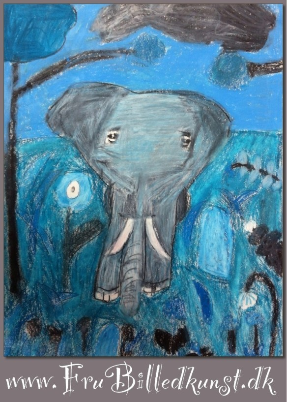 www.FruBilledkunst.dk - elephant value painting - 2nd grade