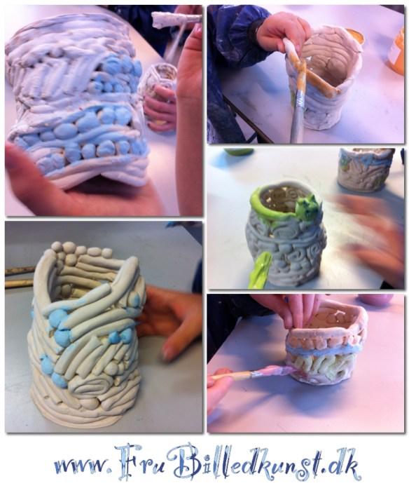www.FruBilledkunst.dk - coil pots with glaze