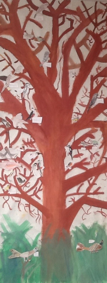 www.FruBilledkunst.dk - vinterfugle - træ