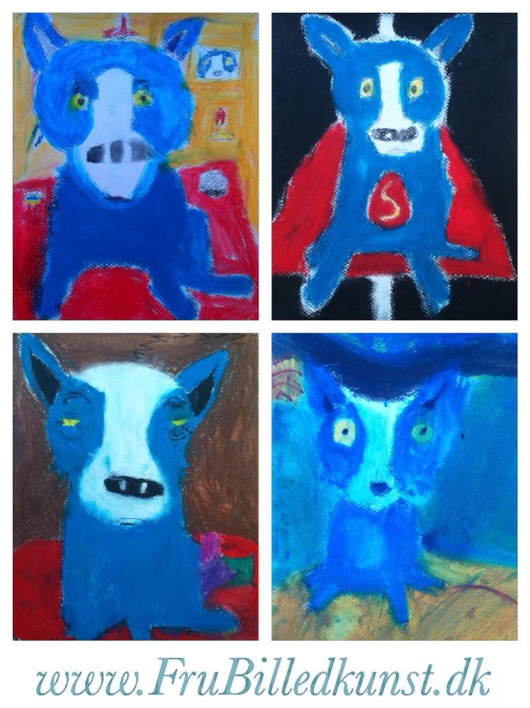 Blue Dog - færdige billeder fra 1.klasse