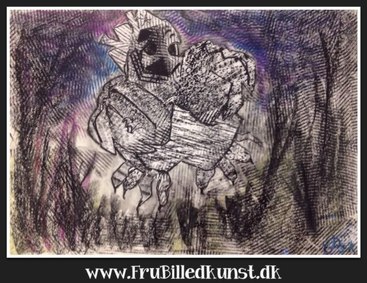 Uhyggelig frottage-tryk - www.FruBilledkunst.dk