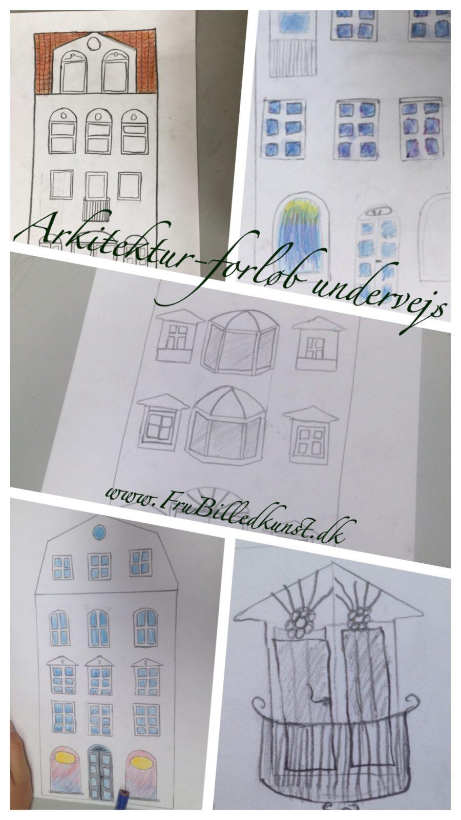 arkitektur i billedkunst 3klasse - www.FruBilledkunst.dk