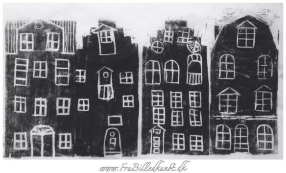 bybilleder - linoleumssnit - billedkunst i 5.klasse