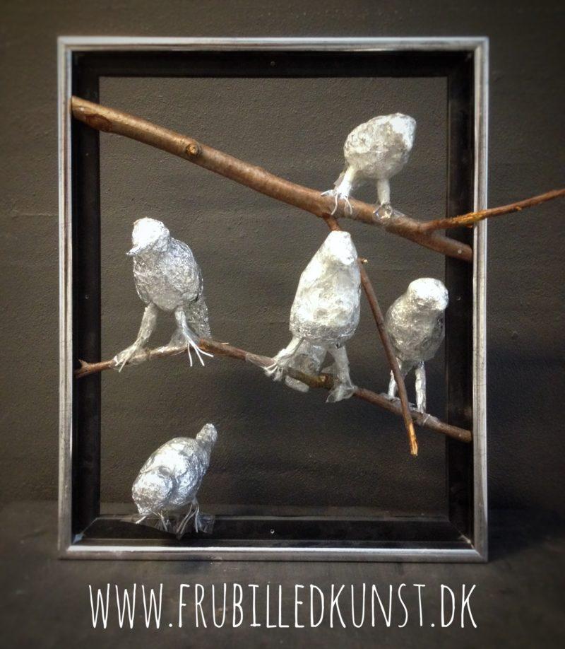 Sølvfugle lavet af 5.klasse - www.FruBilledkunst.dk