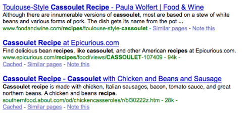 """Google results for """"cassoulet recipe"""""""