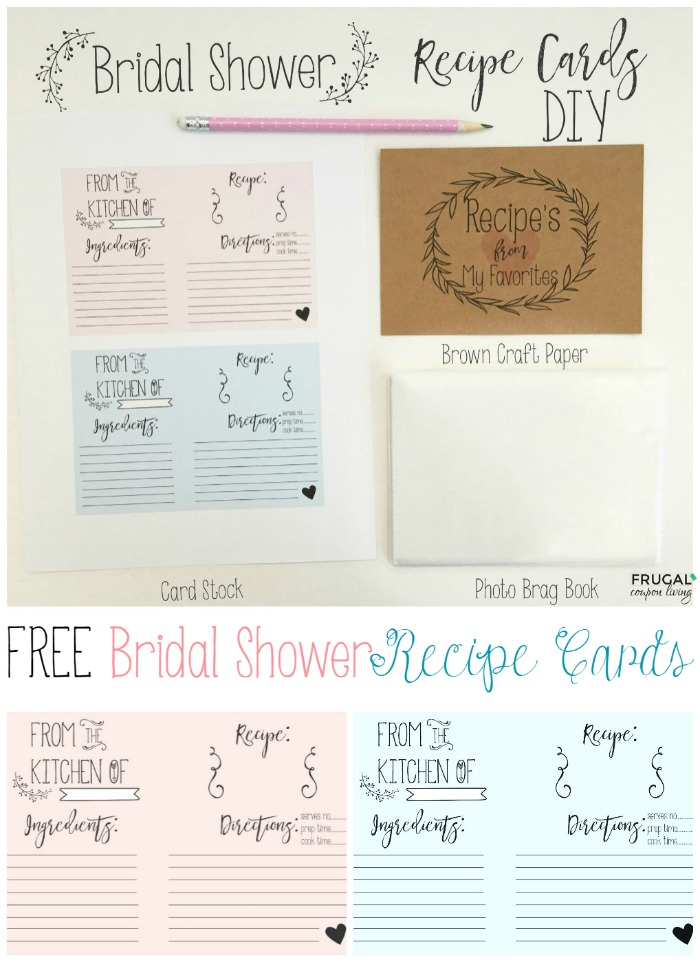 FREE Bridal Shower Recipe Printable