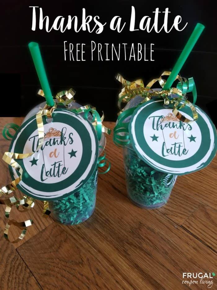 Thanks A Latte Printable Starbucks Gift Card Tag