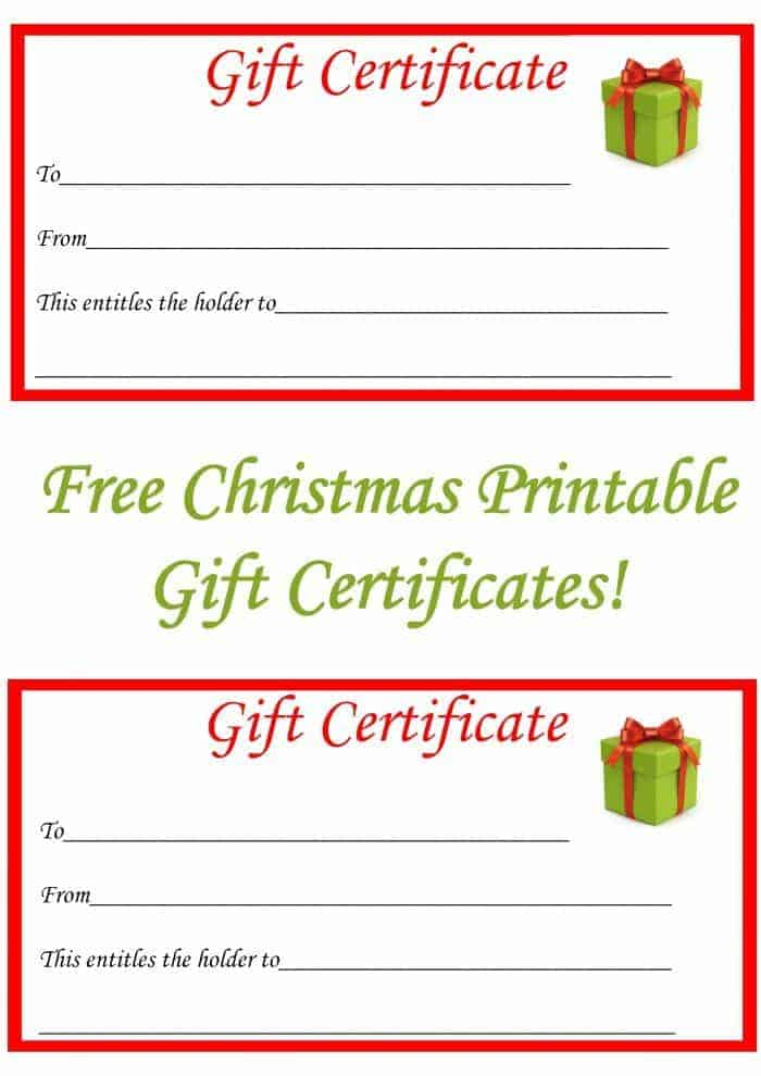 Free Christmas Printable Gift Certificates The Diary of a – Printable Christmas Gift Certificate
