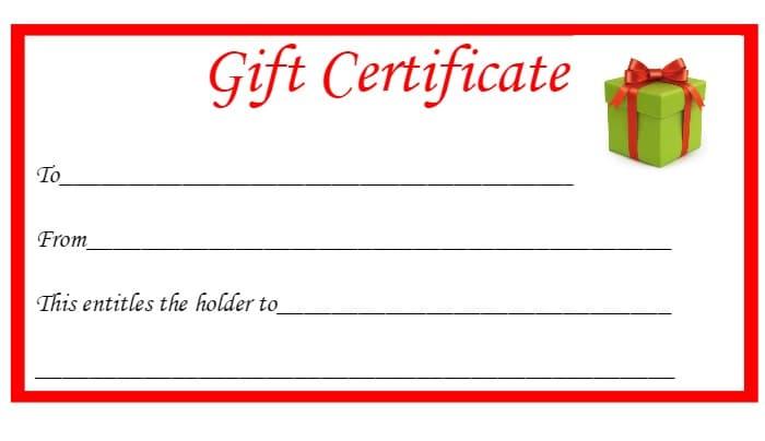 Blank gift certificates for christmas