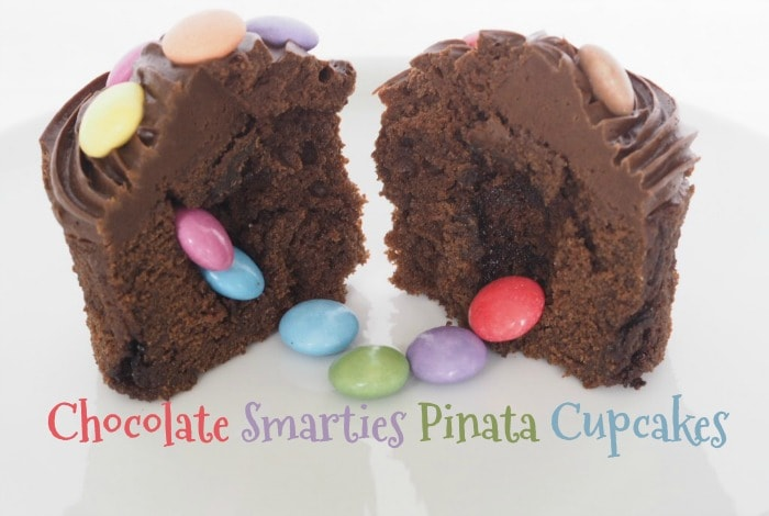 Chocolate Smarties Pinata Cupcakes….