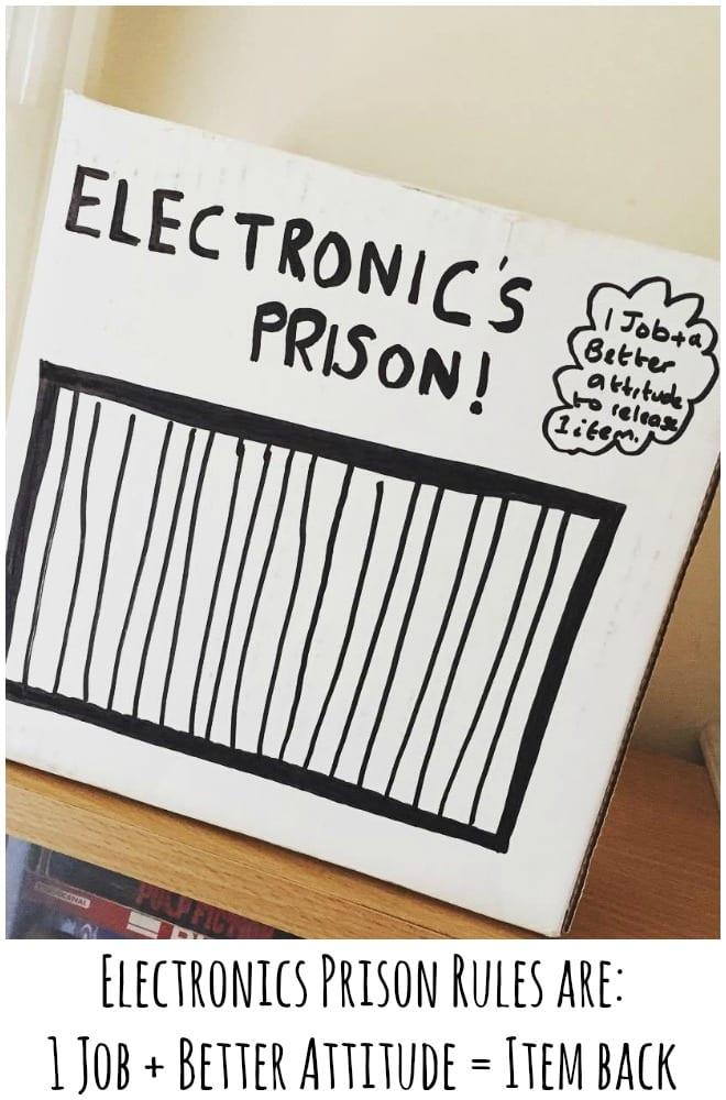 Electronics Prison Rules are 1 Job + Better Attitude = Item back