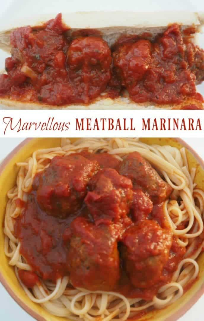 Marvellous meatball marinara - easy to make and perfect to go with spaghetti or in a simple sub!