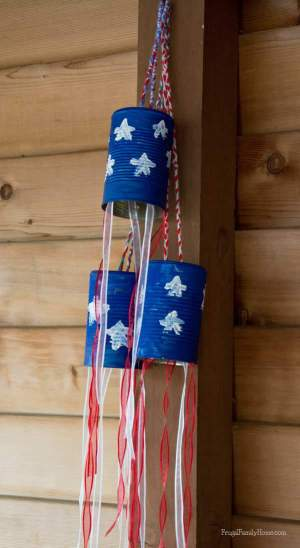 Recycle tin cans into windsocks for the 4th of July, Frugal Family Home