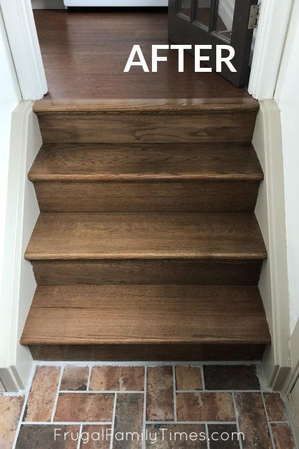 Stair Makeover Staining Stair Treads To Match New Floors   Carpet For Basement Stairs   Exterior   Finishing   Navy Blue   Herringbone   Berber