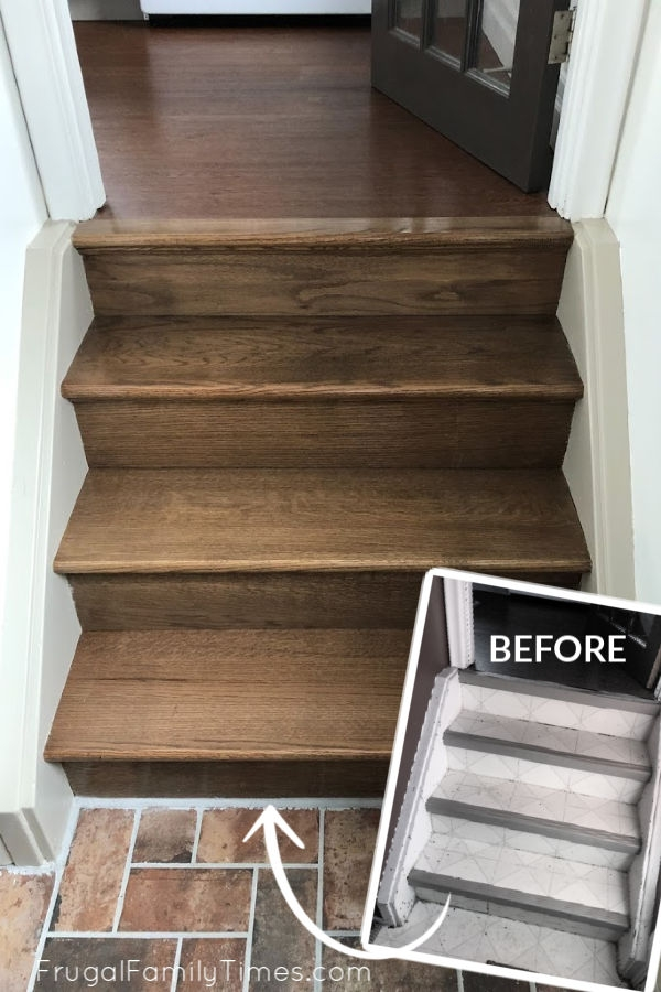 Diy Stairs Makeover How To Install Wood Treads Risers Over Old | Wooden Stairs For Mobile Home | Pre Built | Prefabricated | Simple | Wood Camper | Patio
