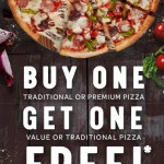 DEAL: Domino's – Buy One Traditional/Premium Pizza Get One Traditional/Value Pizza Free (May 22)