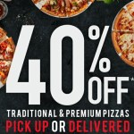 DEAL: Domino's 40% off Traditional & Premium Pizzas (15 March)