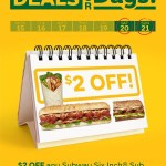 DEAL: Subway – $2 off any Sub or Wrap (until 19 April 2019)