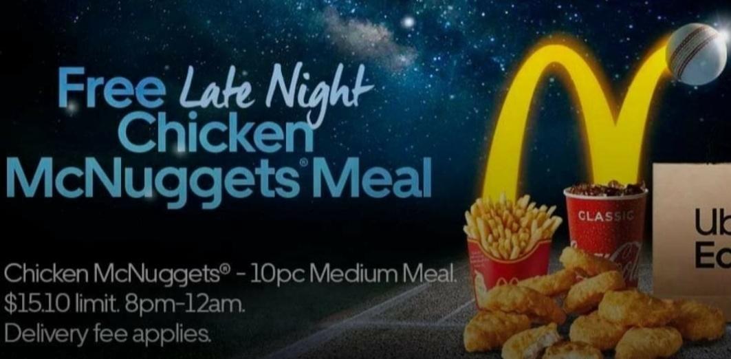 DEAL: Uber Eats BATSMAN Promo Code - Free 10 Chicken McNuggets Meal