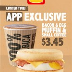 DEAL: Hungry Jack's App – $3.45 Bacon and Egg Muffin & Small Coffee (until 24 June 2019)