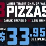 DEAL: Domino's – 3 Traditional Pizzas, 2 Garlic Breads & 2 1.25L Drinks $33.95 Delivered (23 August 2019)