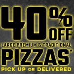 DEAL: Domino's – 40% off Large Traditional, Premium & Plant Based Pizzas Delivered (8 April 2020)