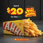 DEAL: Chicken Treat – Free Large Chips with $20 Spend on Uber Eats (until 1 June 2020)