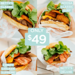 DEAL: Betty's Burgers – Betty's Classic, Crispy Chicken Supreme, Betty's Deluxe and Noosa Classic Surf for $49 (Normally $56.50)