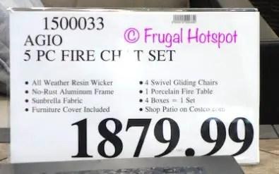 agio cordova 5 piece fireplace chat set