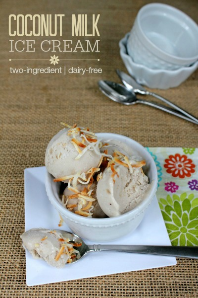 Coconut Milk Ice Cream -- This 2-ingredient dessert might be the easiest dairy-free ice cream recipe EVER! Dairy-free, gluten-free, and Paleo-friendly!