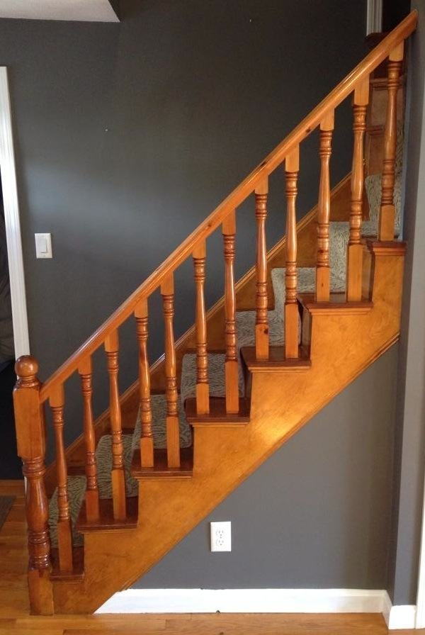 How To Refinish A Staircase For Under 50 Frugalwoods | Cost To Refinish Handrail | Hardwood Stairs | Wrought Iron | Interior | Stair Treads | Refinishing Hardwood Floors