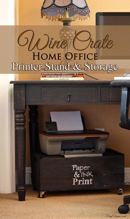 Wine Crate Printer Stand & Storage - www.FrugElegance.com