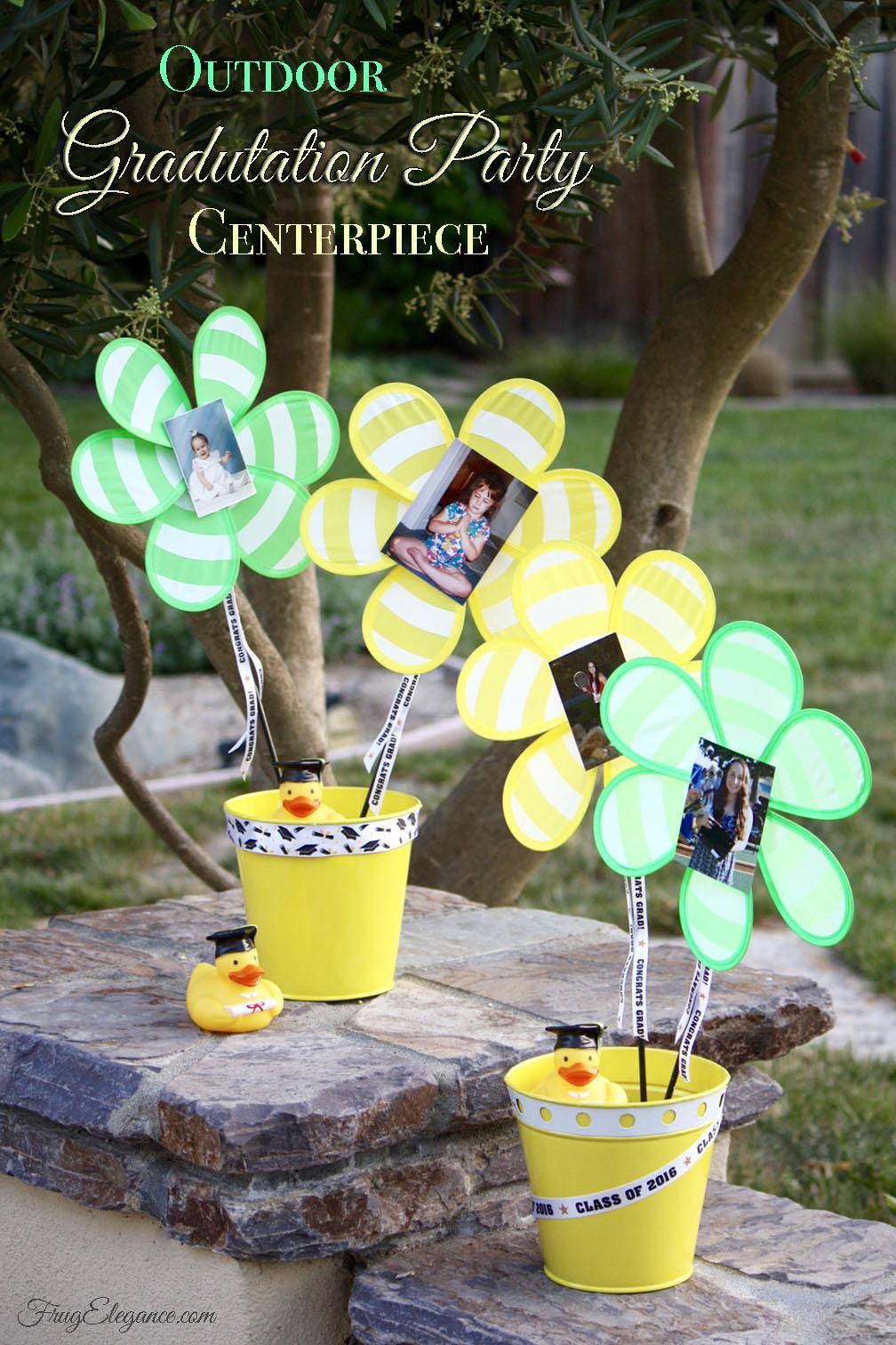 Outdoor Graduation Party Centerpiece - FrugElegance