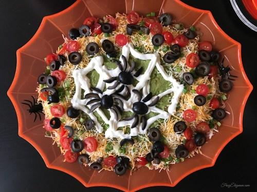 Halloween Spider Web 7 Layer Dip | FrugElegance | www.frugelegance.com