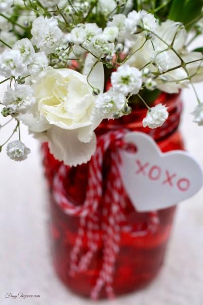 Valentine's Mason Jar Vases | FrugElegance | www.frugelegance.com
