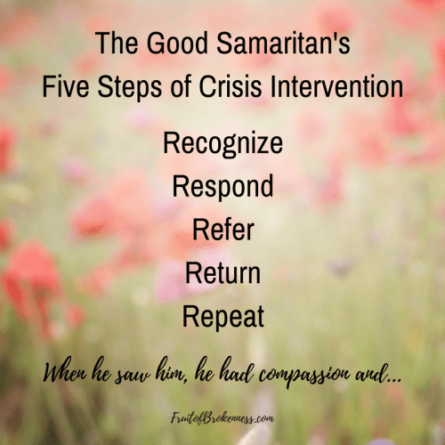 How can we respond to mental health crises in the church? Follow the example of the Good Samaritan: Recognize. Respond. Refer. Return. Repeat. Read the post to learn more about this Biblical crisis intervention model.