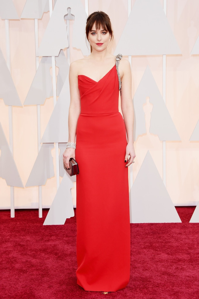 dakota-johnson-saint-laurent-red-dress-oscars-2015