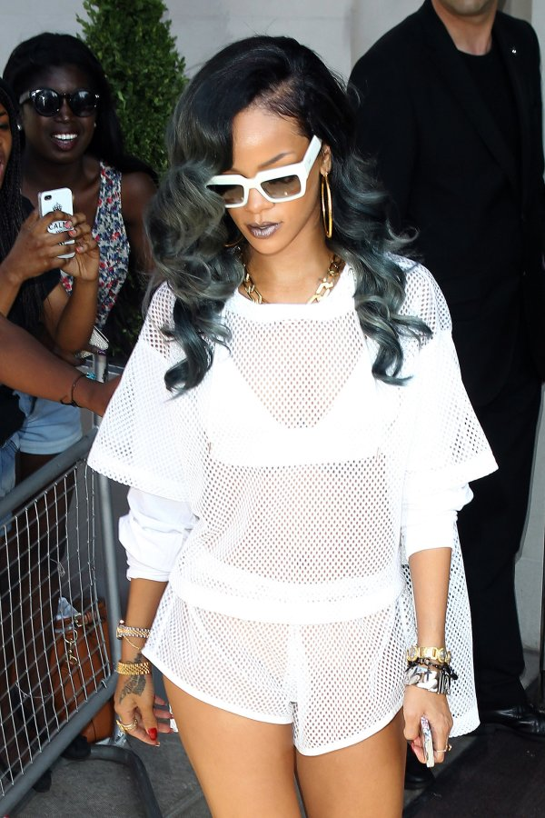 Rihanna with grey hair.